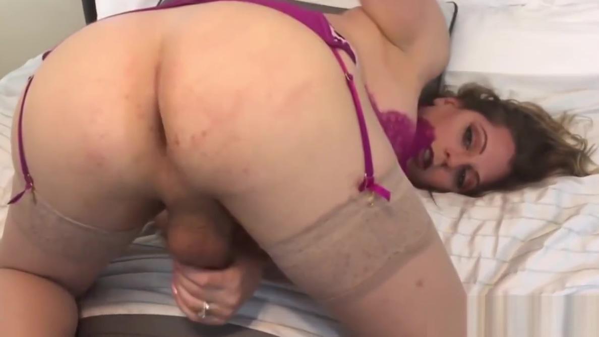 Lingerie clad TS Tyra Scott masturbates solo while teasing Korean milf mature