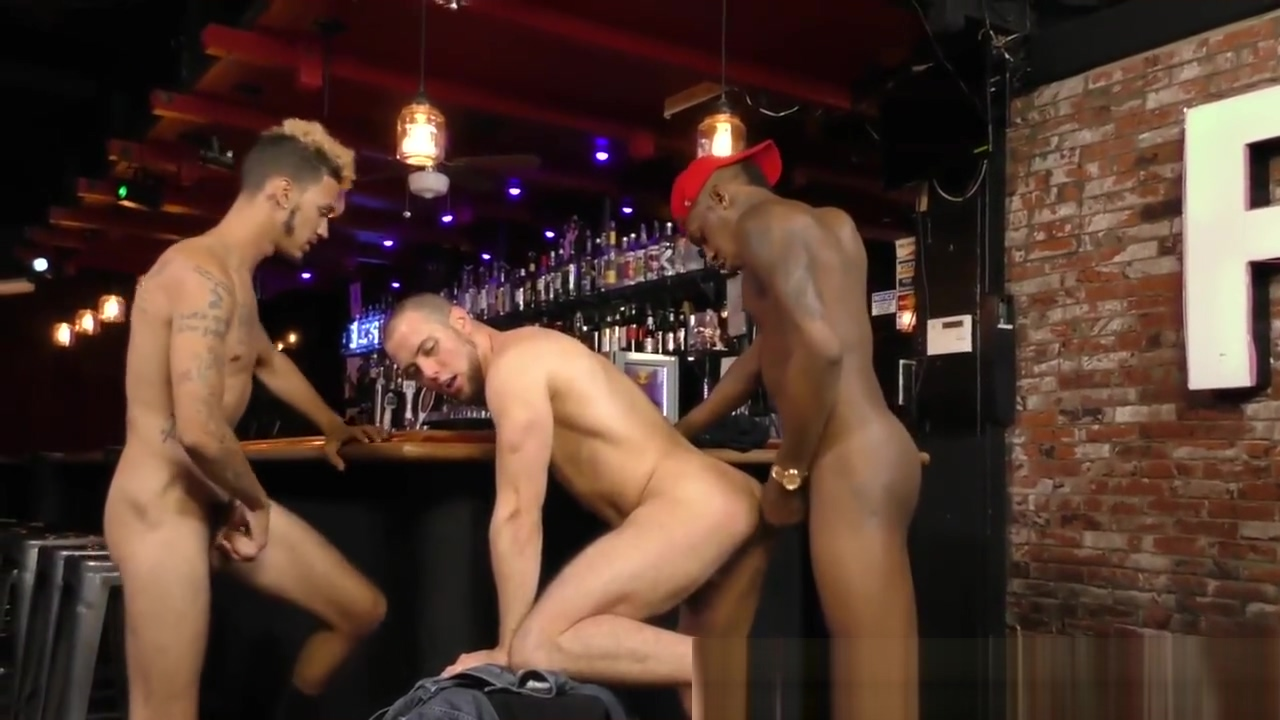 2 Black Studs Take On White Boy in Bar Naked girls in costume
