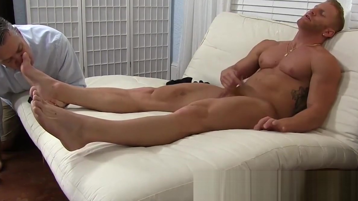 Muscle stud blasts out a huge load while feet worshiped Cum tits breast gif