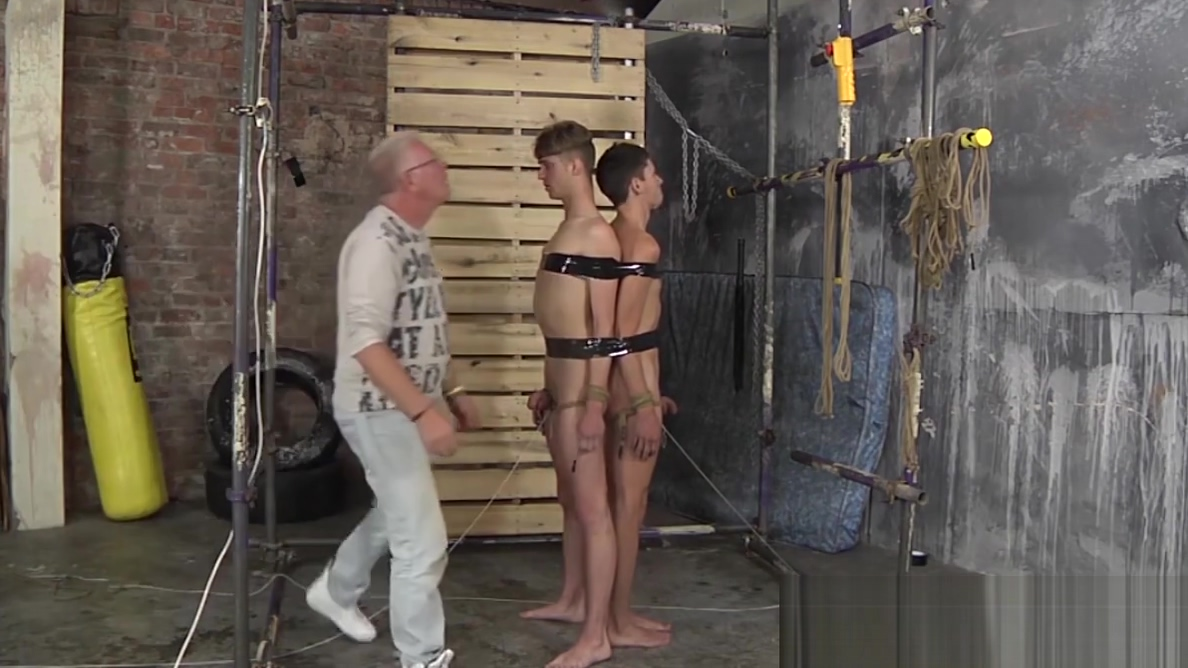 Sub twinks tied up to each other and disciplined by master adults with fetal alcohol syndrome