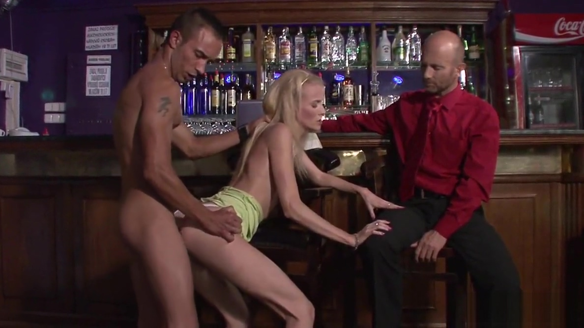 Young blonde wife cuckolds husband with barman Perfect tits babes pov