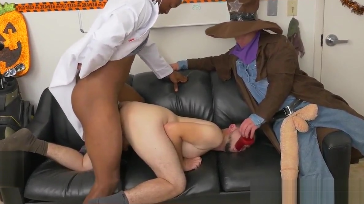 Office costume party ends in interracial trio Cock gallery hunk naked