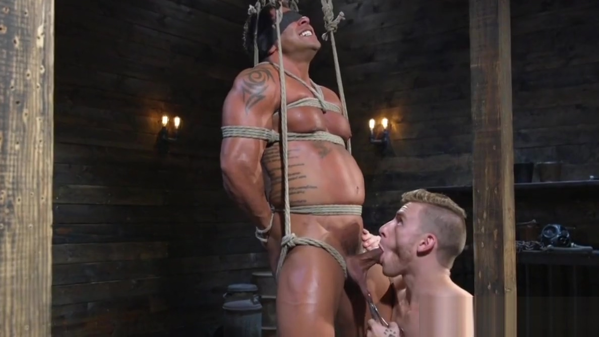 Ripped BDSM dom whips restrained subs cock Dylan harper blowjob