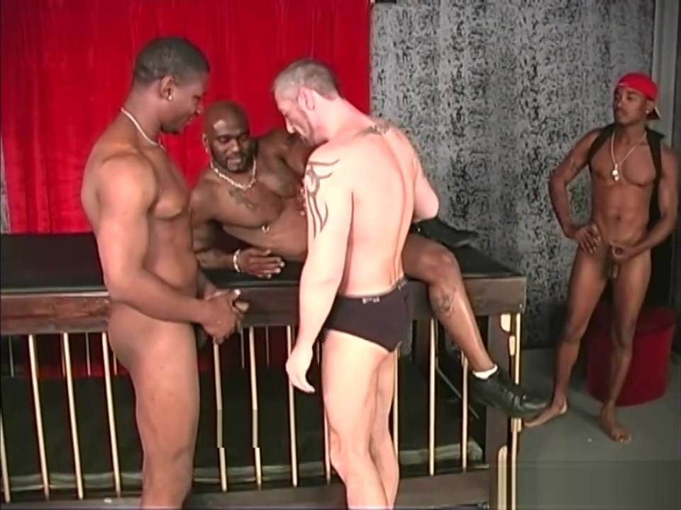 Three black dudes sharing a muscular guy asian girl handcuffed getting her nipples and tongues sucked on the bed