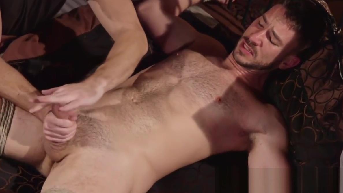 Cumcontrolled bound gay gets a handjob by dom Yelle side boob
