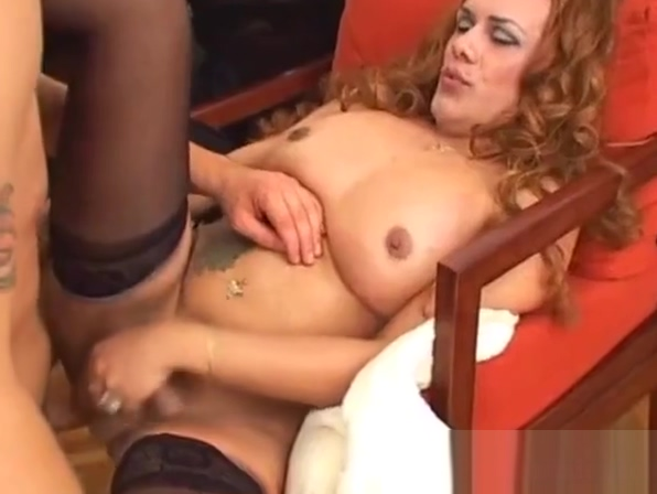 Busty shemale cockriding after sloppy bj