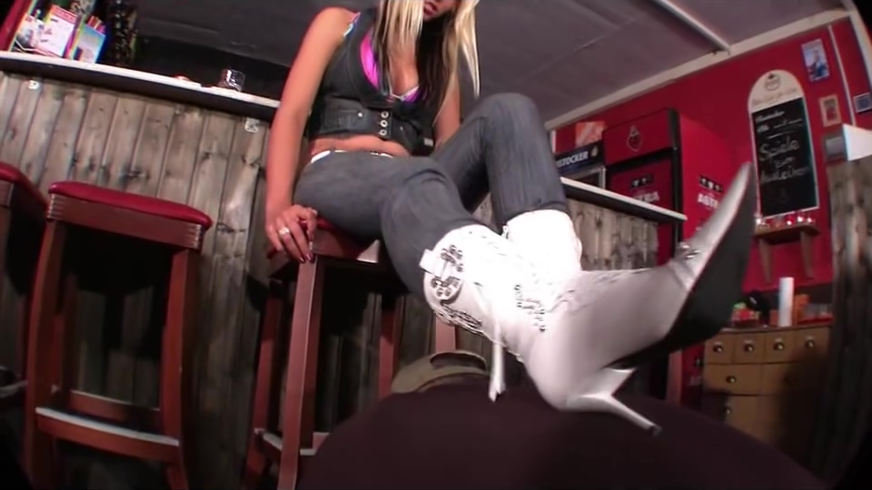 White boot worship trample