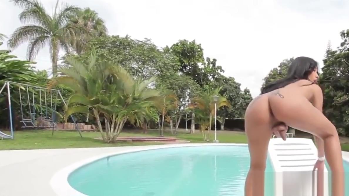 Booty latina tgirl tugging hard cock poolside