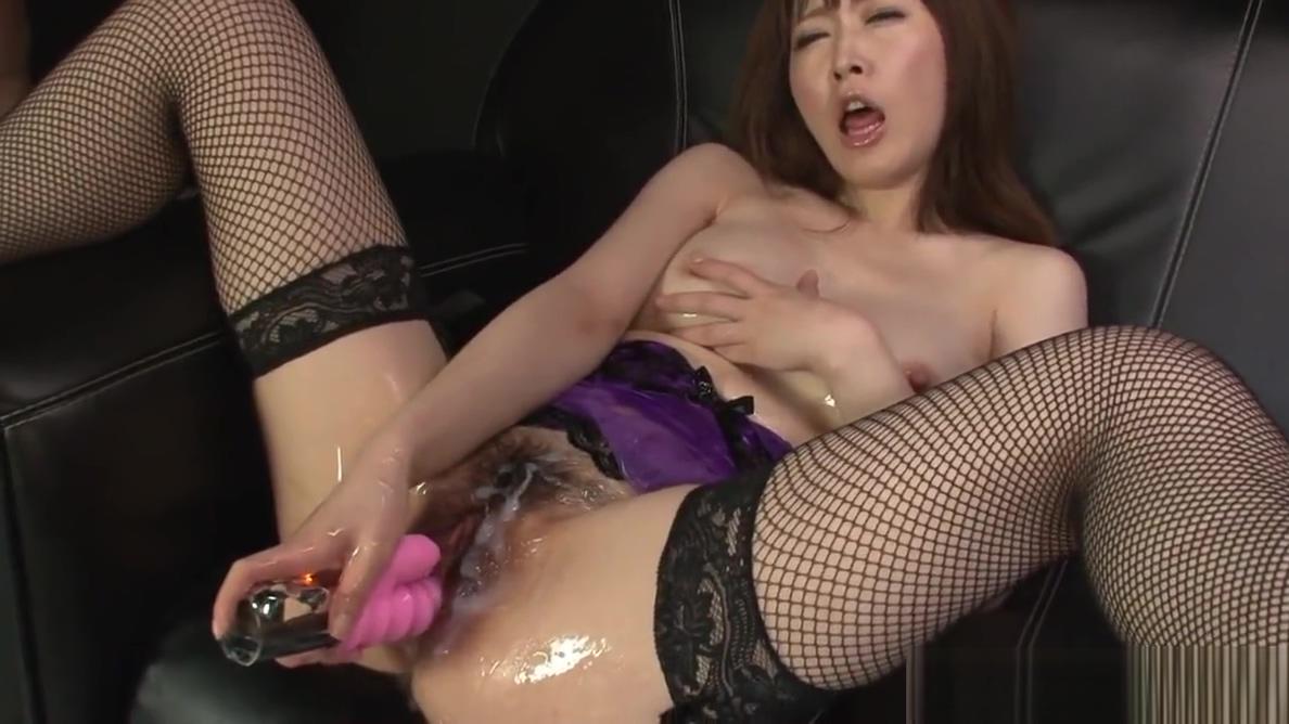 Asian slut strips sexy lingerie during the slippery masturba