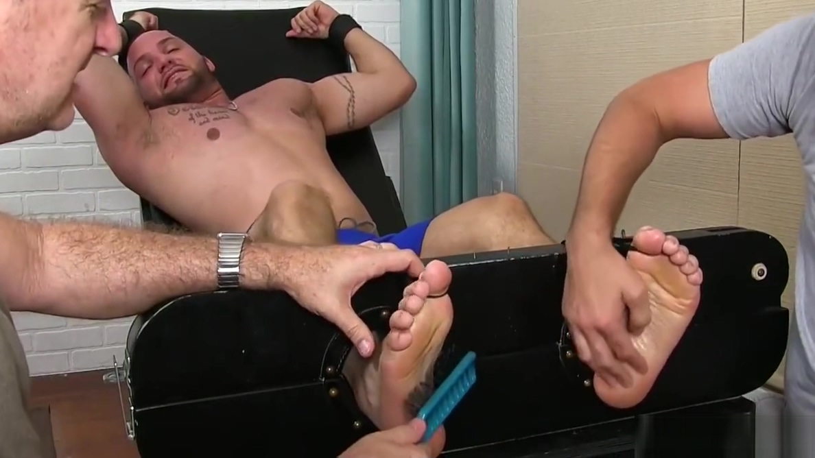 Julian Knowles is restrained and tickled by two kinky studs P www xxx com