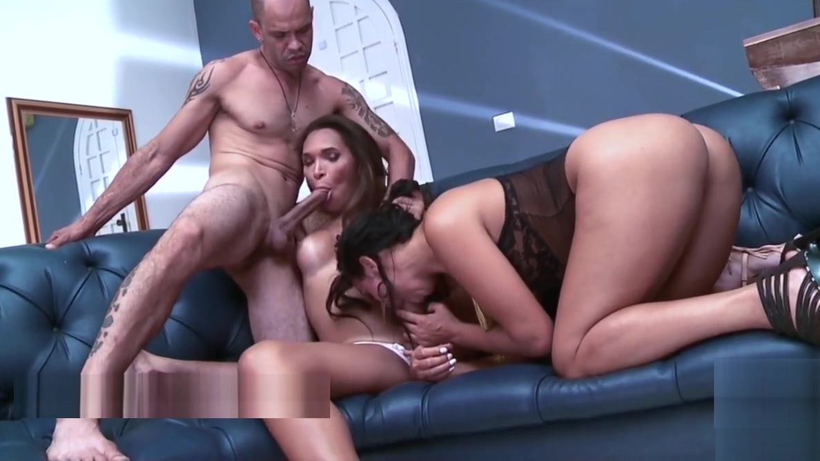 Tranny threesome with girl and guy fucking hard and cumming!