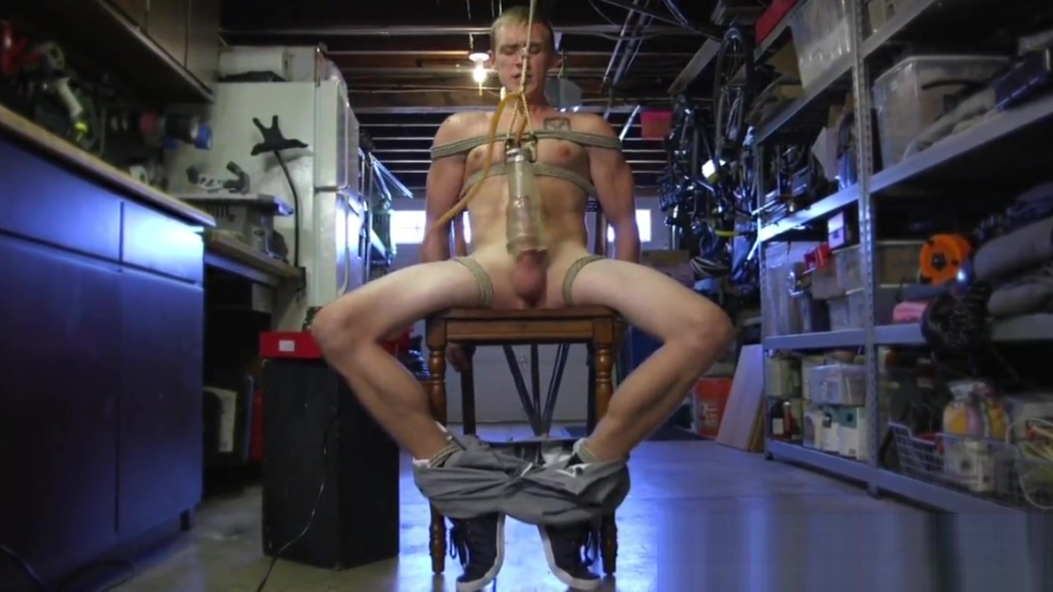 BDSM sub tied up and toyed before jerking Naked furry dragon with big boobs