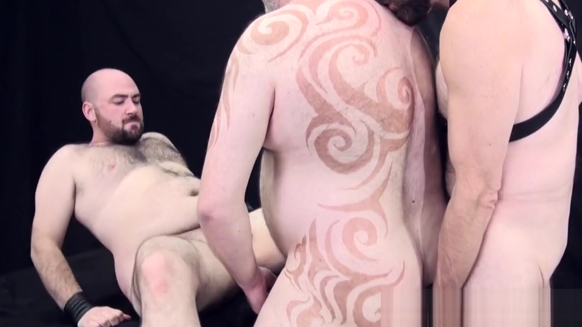Chubby leather bears bare fucking in trio Granny playing with big cock