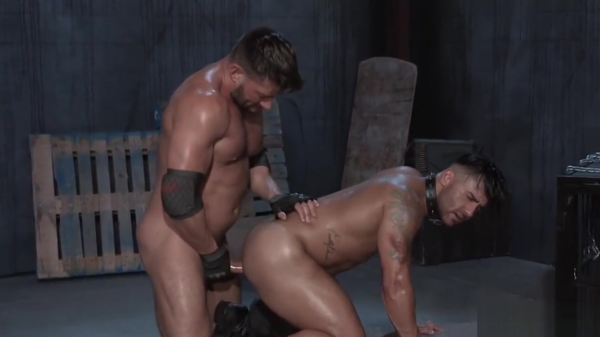 Ruthless guard Bruce Beckham fucks Bruno Bernal French maid fucked by huge cock