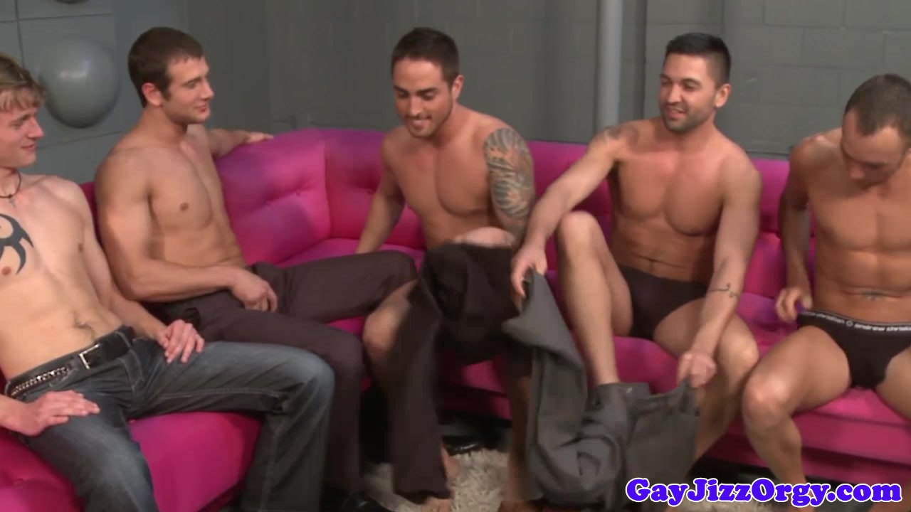 Cumshot loving muscles in group ass fucking G string between wet pussy lips
