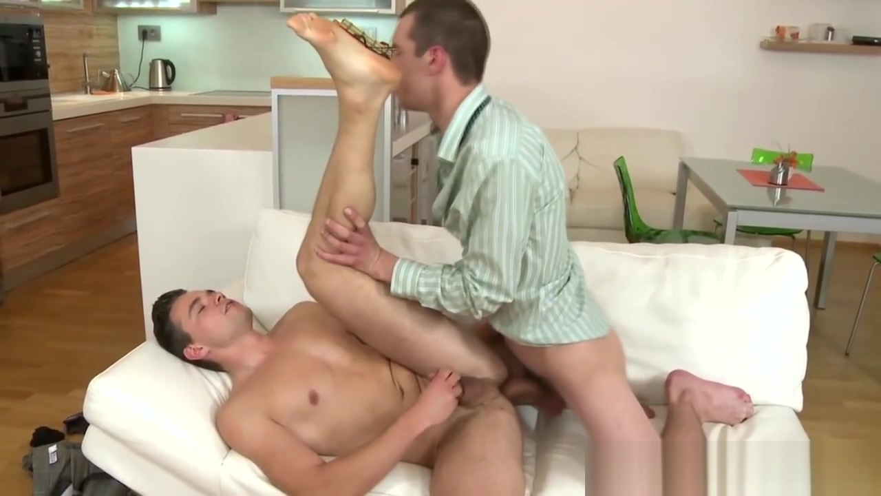 Barebacking dude facial boss gives footjob employee