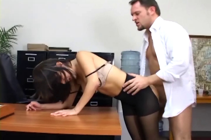 Breasty secretary in sheer hose has office sex Sexy christian louboutin