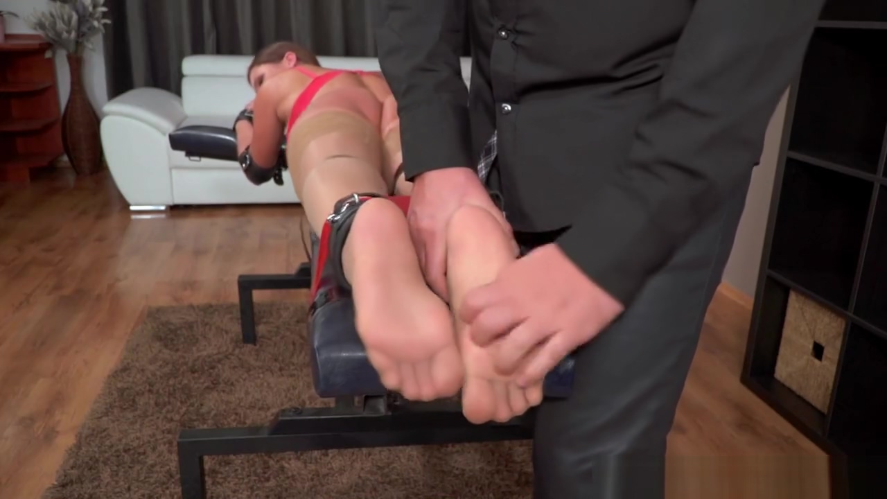 Barbara & Mr. Tickler [Only Nylon Feet Tickling] Sexy thick white women