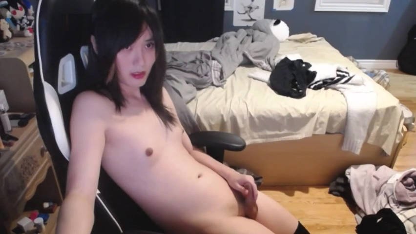 Cute young asian tgirl cums while listening to anime music Sweet porn pix