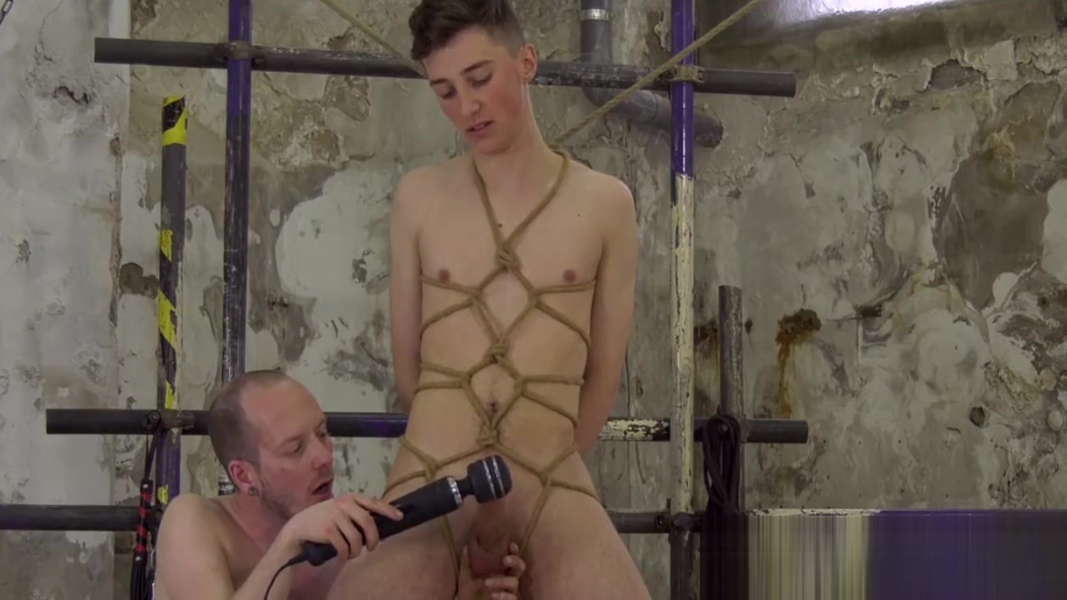 Gay sub Johnny Polak cumshot after handjob in bondage huge cock mouth to ass