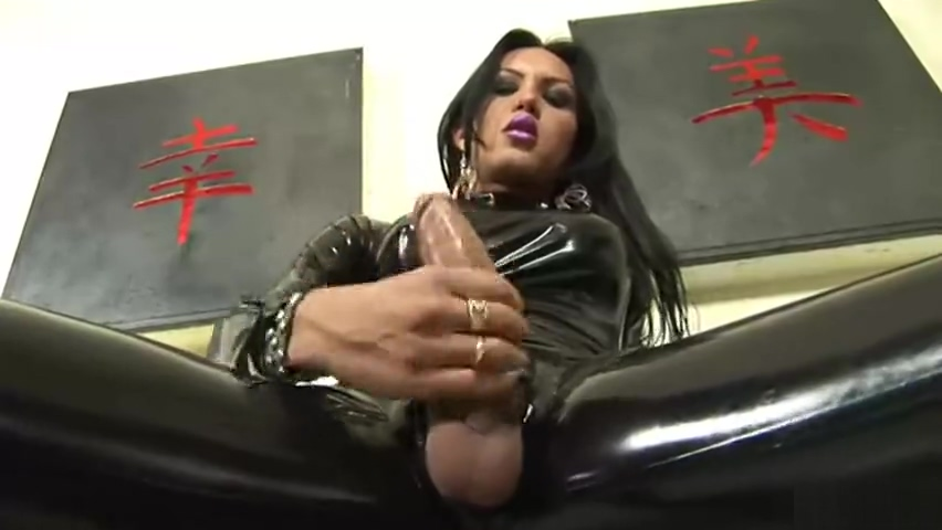 Solo TS In Latex Jerks Off