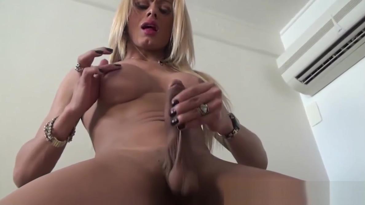 Blonde tranny babe in black lingerie jerks off til cumshot vagina pubic hair problem