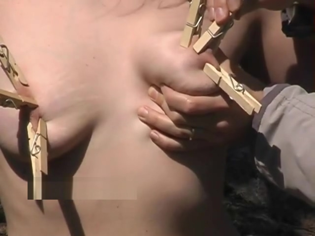 Outdoor bondage and clothespegs tit torment of busty submissive of Finland Japanese Lesbians Kissing on the Couch