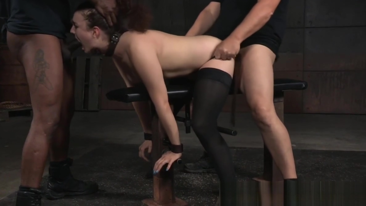 BDSM sub spitroasted in interracial trio