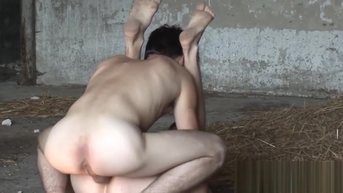 Two horny twinks bareback fucking in the abandoned building taken from behind gif