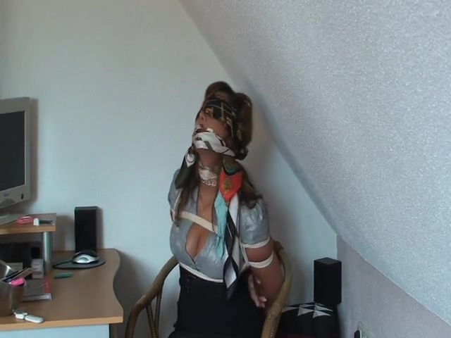 Scarf bound, gagged & blindfolded adult loose bowel protection