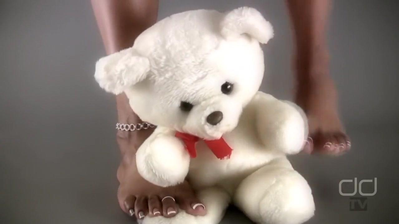 Darla TV - Darla Tramples A Teddy Bear With Her Sexy Ebony Feet Hot milf in leather porn