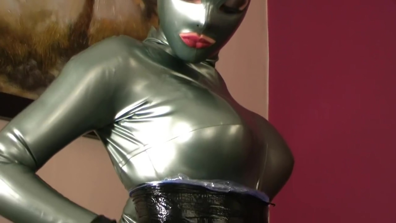 latex and tape coocon part 1/2 - girl in latex catsuit and bondaged in tape drink cum from a glass freeone