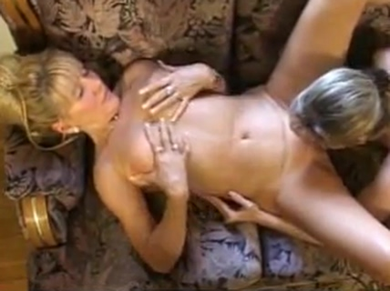 Young Blonde Teen playing with Mature Blonde Temptress Ebony lesbo sluts riding strapon and kissing