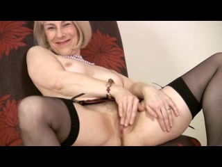 Older in Pearls and Stockings Toys Cum on camera gifs