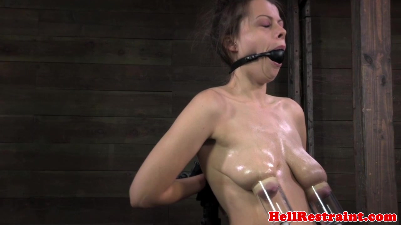 Restrained sub punished with breastbondage hot woman & saxyboobs