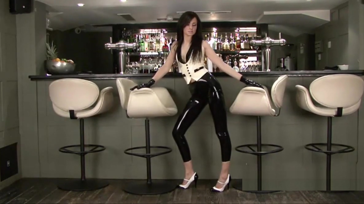 Latex fetish of sexy barmaid Anastasia in high heels oral sex truth or dare
