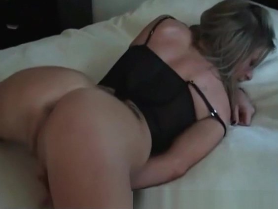 Check My MILf slim blonde wife in black stockings pussy play