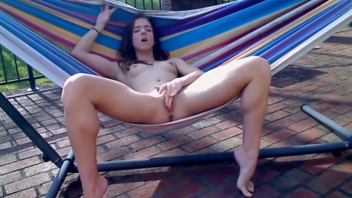 Pussy fingering in the hammock