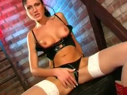 Very Hot Woman Playing in Shiny PVC Lingerie son creampie his mom porn