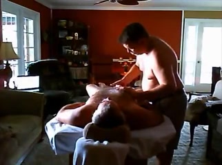 Fat gay guy massages his bf and gives him a handjob Facesitting anguish