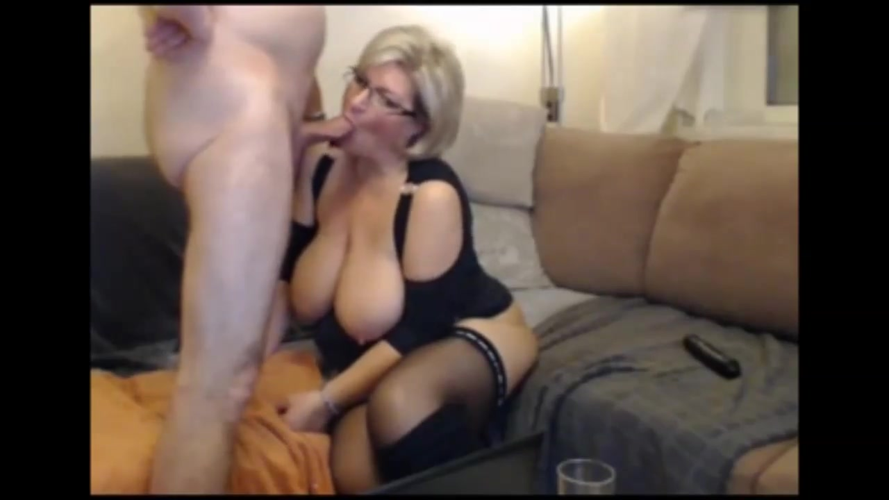 German blond BBW MILF in stockings and boots sucks and fucks
