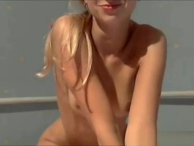 Sexy blonde strips on webcam
