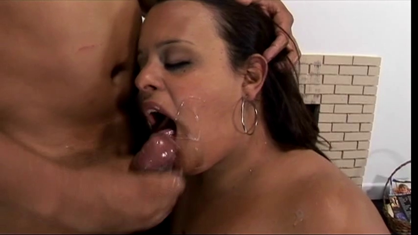 Brunette Hair fatty receives screwed on the floor and takes a large load boobs bouncing in public