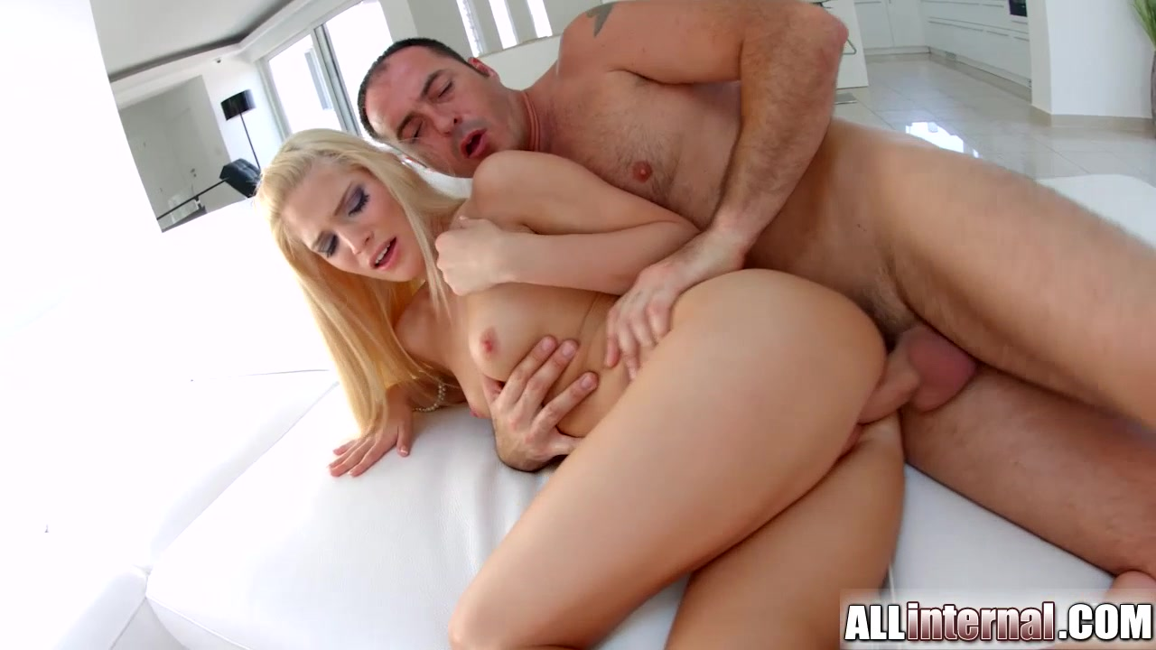 AllInternal Stunning blonde shows off her messy creampie Girl juicy pussy lips