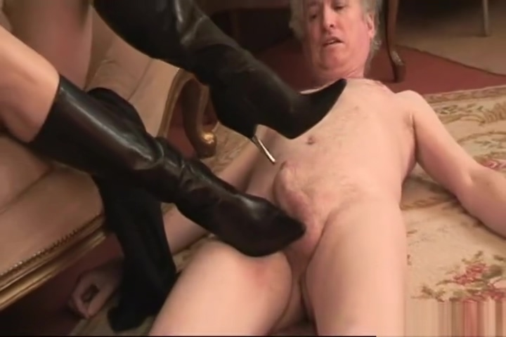 Strict Mistress Tramples and Forces An Old Man to Worship Her Knee HigBoots Threesome with my wife