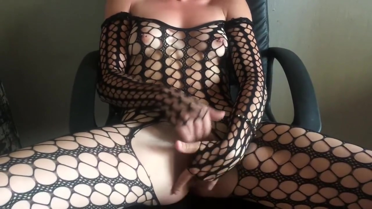 First Time TEEN Masturbating Real Orgasm In Fishnet Bodysuit Leather Skirt