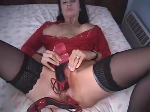 British MILF fucks herself with a pair of high heeled shoes Bbw so