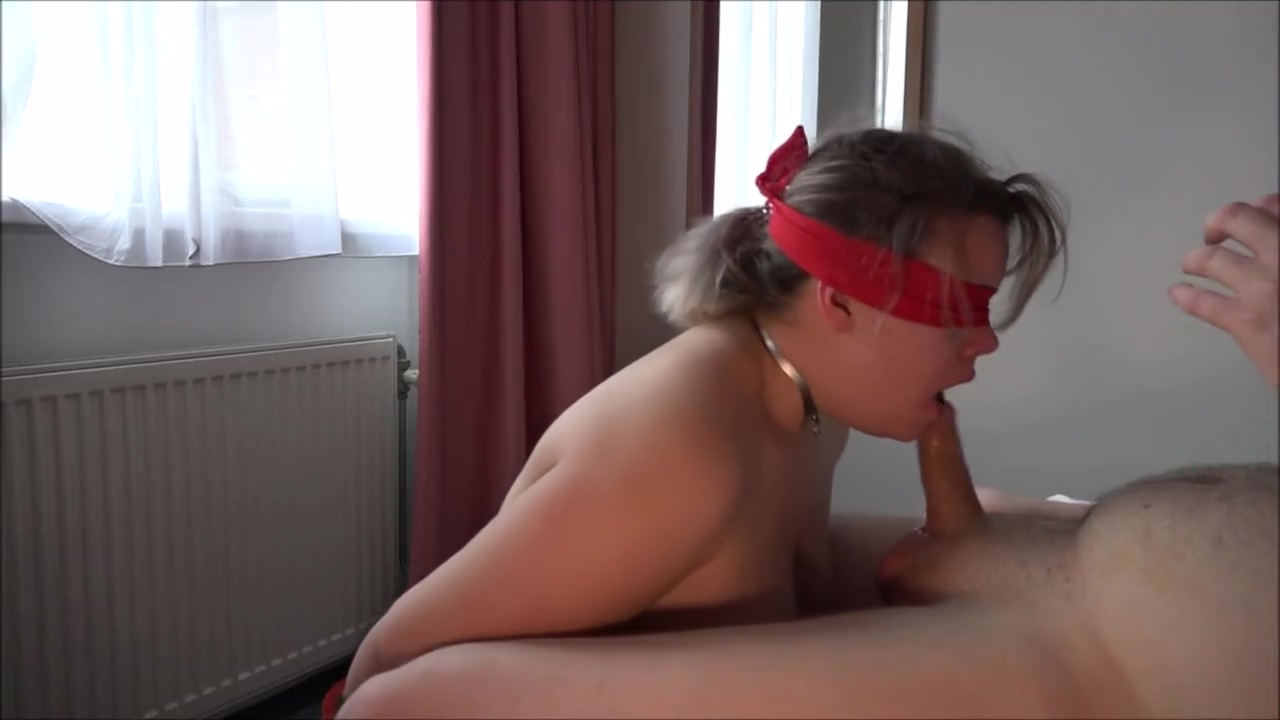 No hands blowjob with blindfold and cum in mouth Fit nude girl sucking dick
