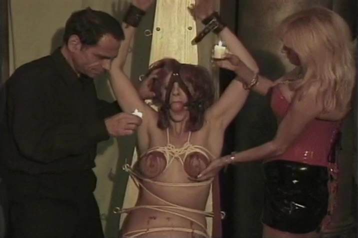 Chick Is Tied Up And Fondled By Another Chick And A Dude