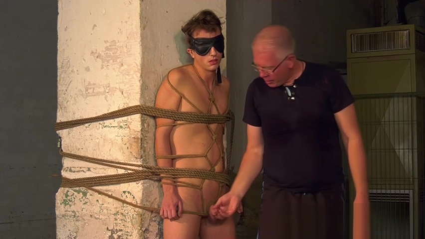 Bound blindfolded twink slave receives handjob from master latex subfigure side by side